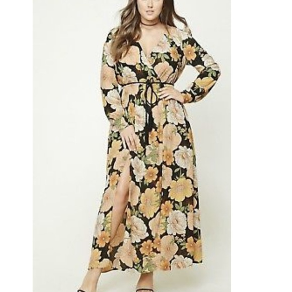 35db7bc3f47a Forever21 3x Floral M-Slit Maxi Dress